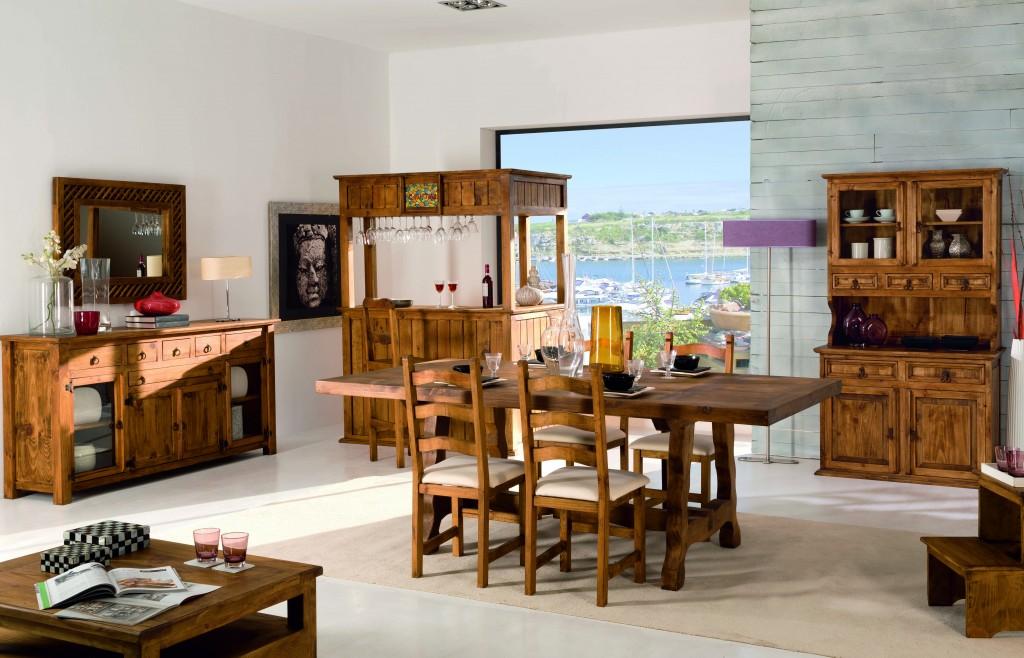 combinación muebles madera maciza rústica salón comedor