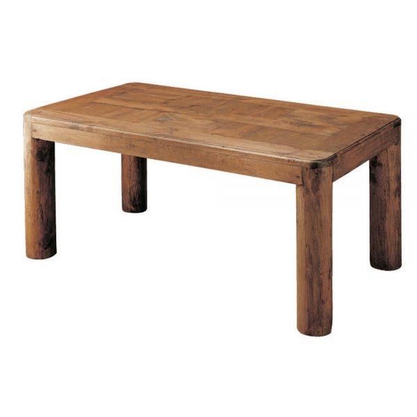 mesa de comedor rústica con troncos