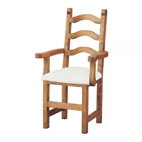 silla de madera con brazos tapizada