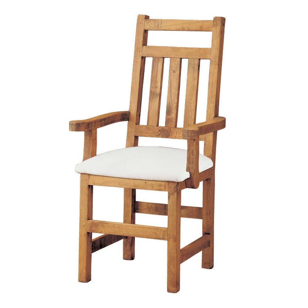 silla rústica tapizada con brazos