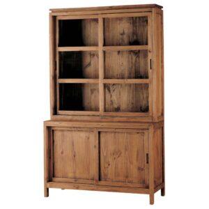 vitrina rústica de madera puertas correderas