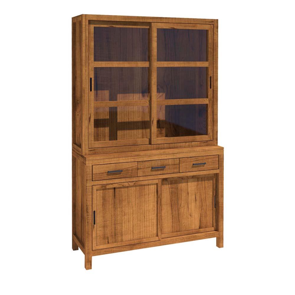 vitrina rústica de madera puertas correderas y cajones