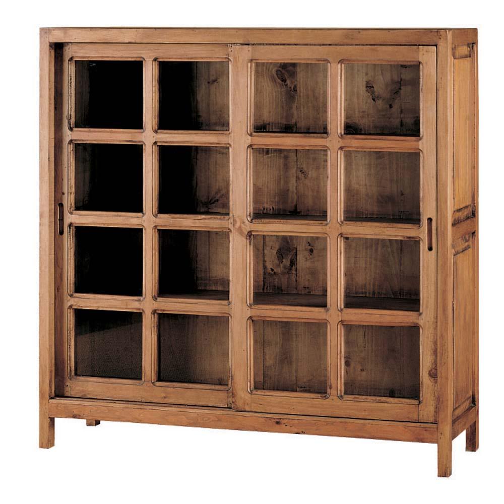 vitrina rustica de madera con puertas correderas