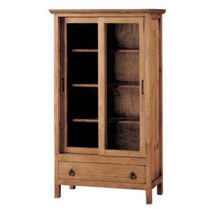 vitrina de madera con puerta y corredera y 1 cajon