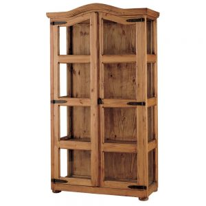 vitrina rustica de madera acristalada