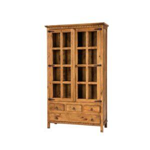 vitrina rustica de madera 4 cajones