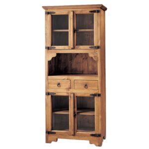 vitrina rustica de madera con cajones y cristales