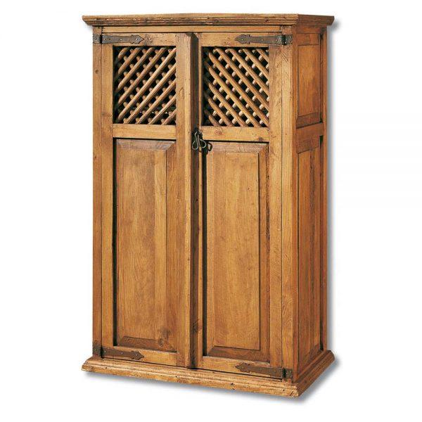 vitrina rustica de madera con celosia
