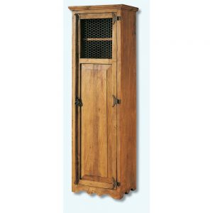 vitrina de madera con rejilla