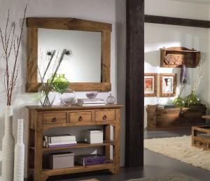 consola rústica de madera, espejo, baúl