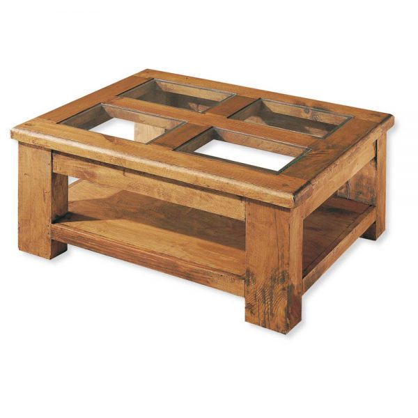 mesa de centro de madera 4 cristales