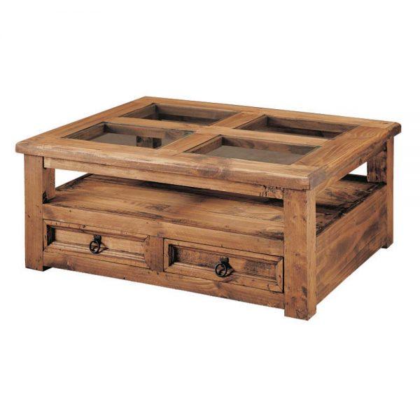 mesa de centro de madera 4 cristales 2 cajones