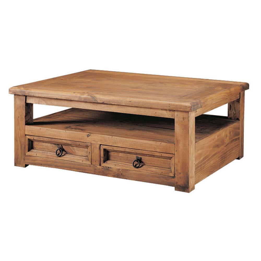 mesa de centro de madera 2 cajones