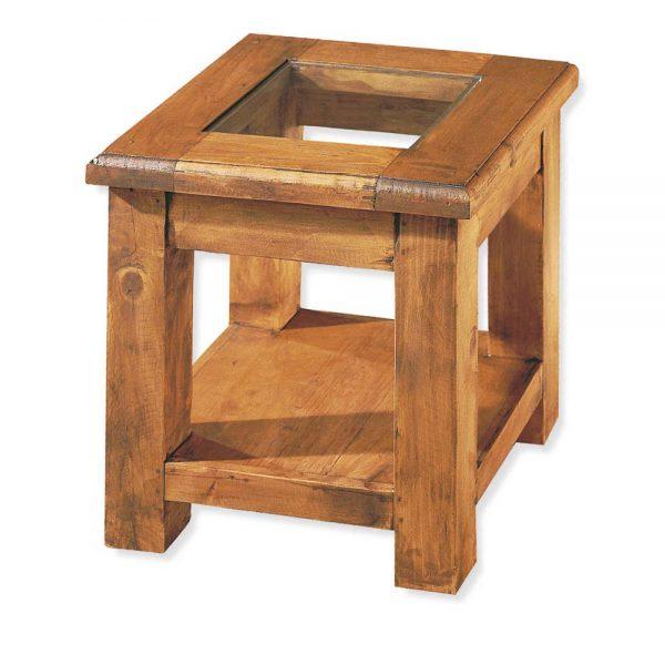mesita lateral de madera rustica