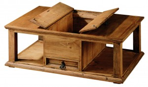 mesa de centro de madera con cajón central