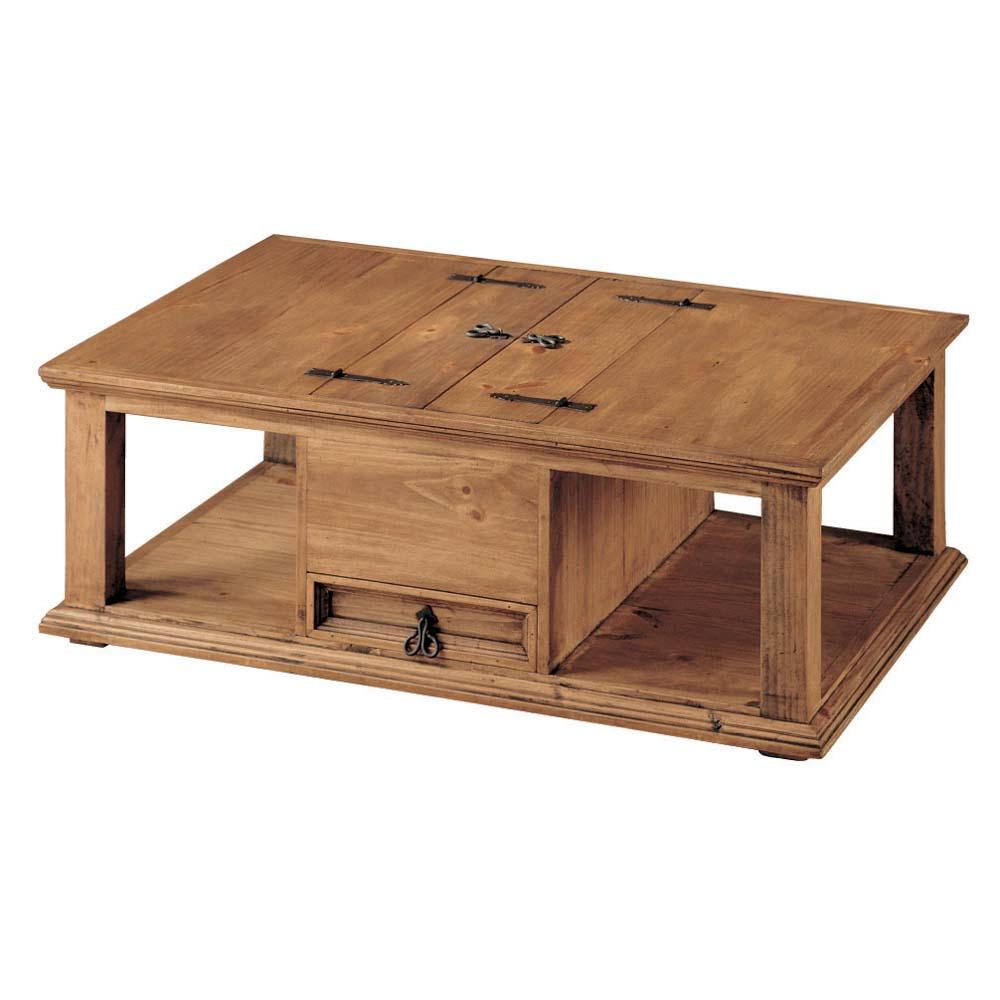 mesa de madera de centro cajon central