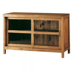 cómoda de madera puerta corredera cristal