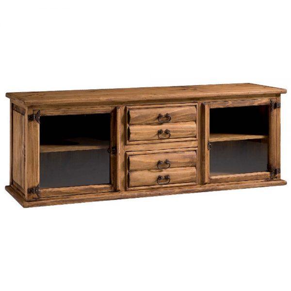 mueble tv rústico con troncos