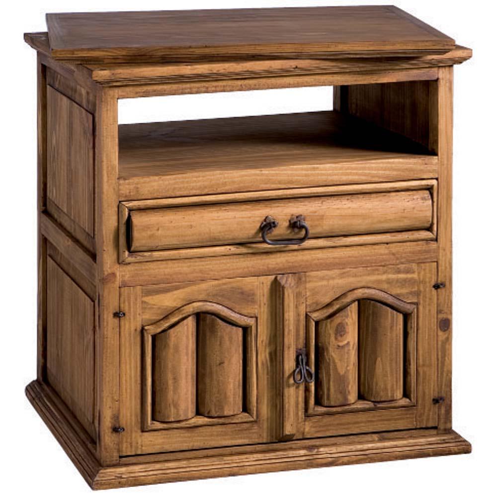 mueble tv madera con troncos