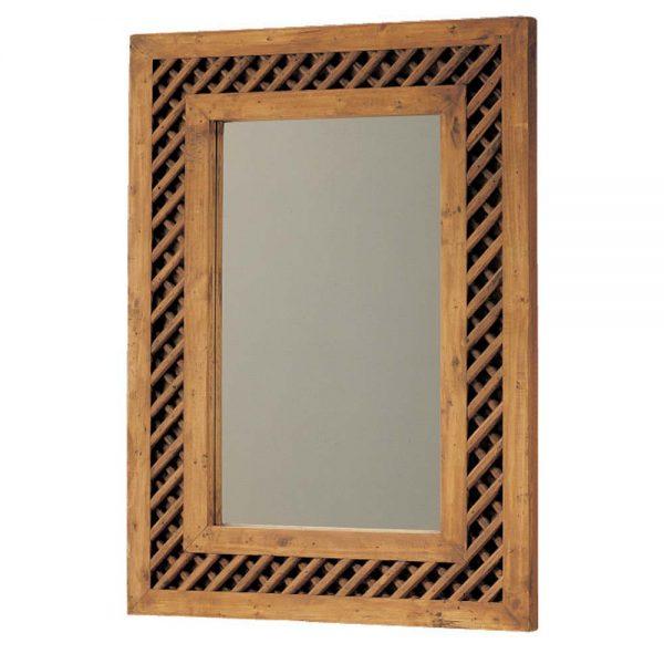 espejo rústico emparrillado