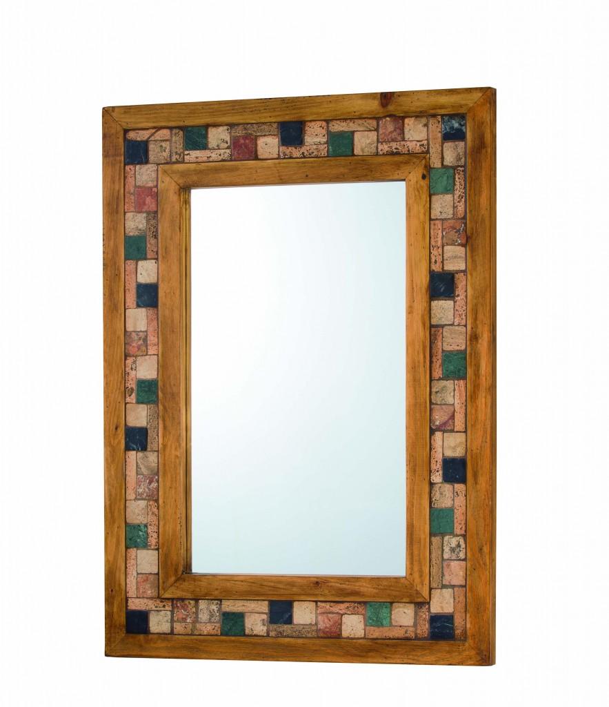 espejo madera rústica con incrustaciones mármol