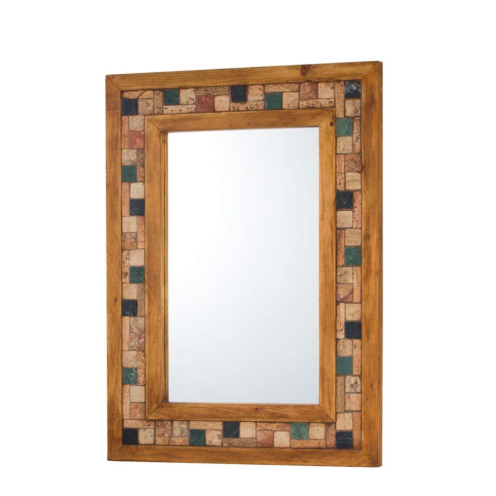 espejo madera con mármol