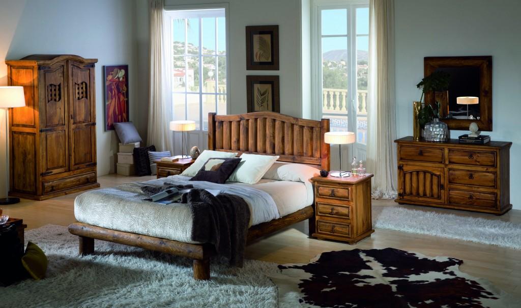 dormitorio rústico de madera maciza de troncos