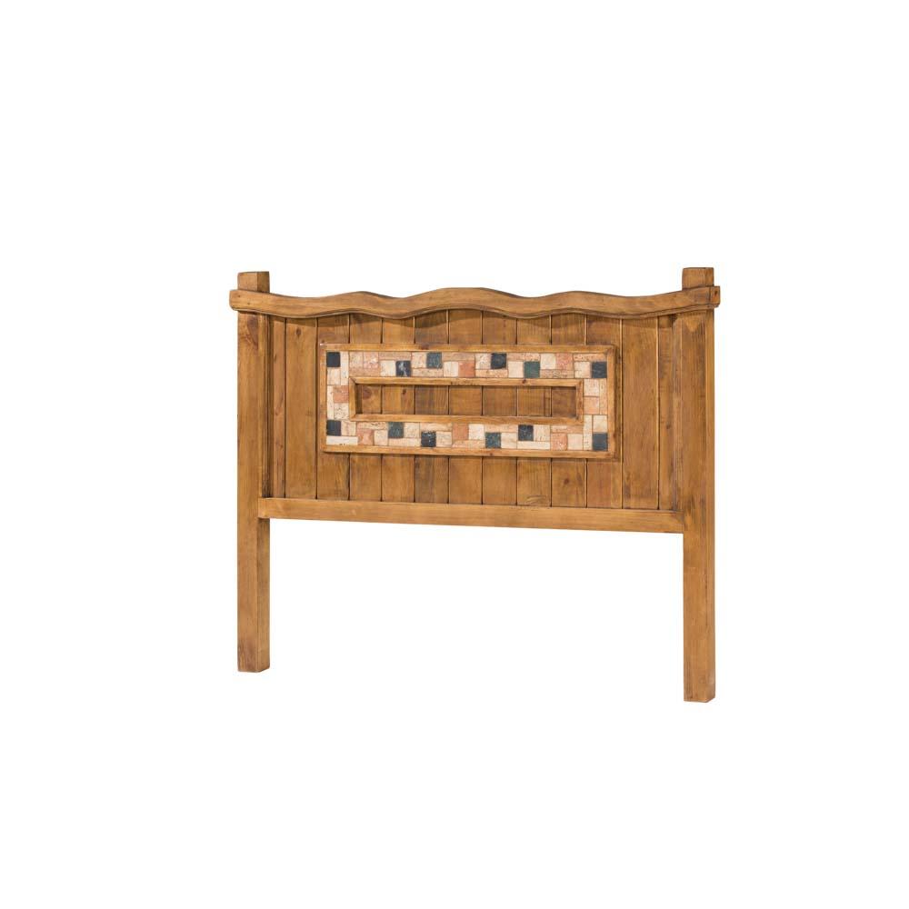 cabecero madera con mármol