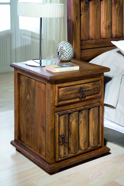 Mesita de noche r stica troncos 27525 myoc f brica de for Muebles rusticos de madera