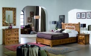 dormitorio rústico de madera maciza