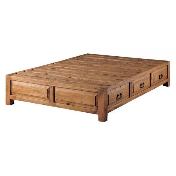 cama rústica cajones