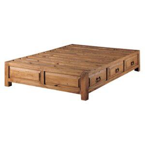 cama rústica con cajones