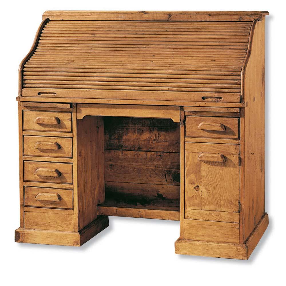 escritorio rústico con persiana