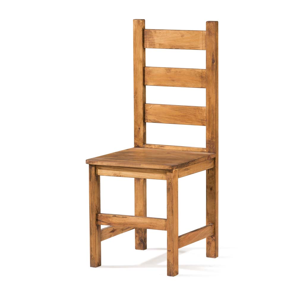 silla rústica con respaldo