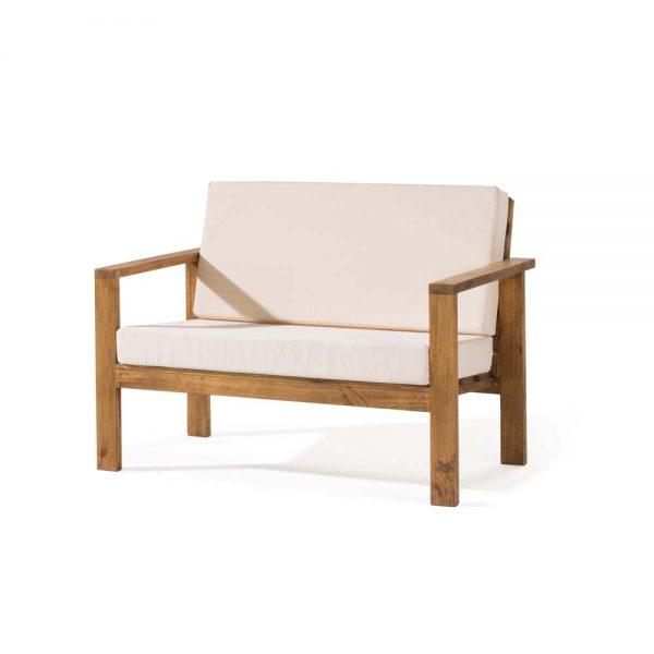 sofá madera rústico 2 plazas