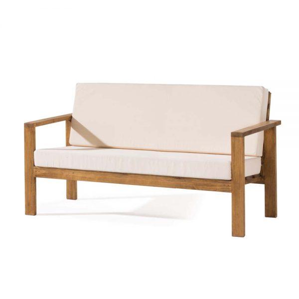 sofá madera rústica tapizado 3 plazas