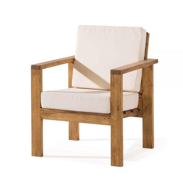 sillón madera rústica tapizado