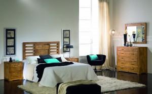 dormitorio madera, comoda, cama, cabezal, mesitas noche