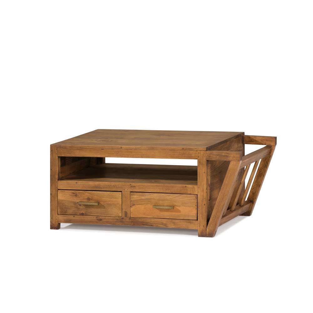 mesa de centro rústica con revistero