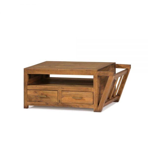 mesa de centro de madera con revistero