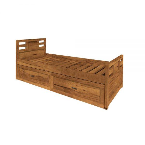 cama de madera con 2 cajones