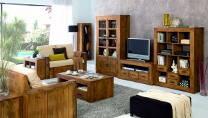 combinación muebles madera rústica para salón