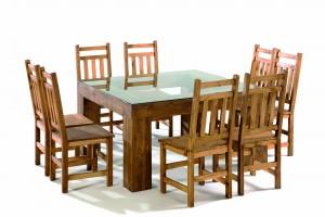 mesa de comedor madera con tapa cristal