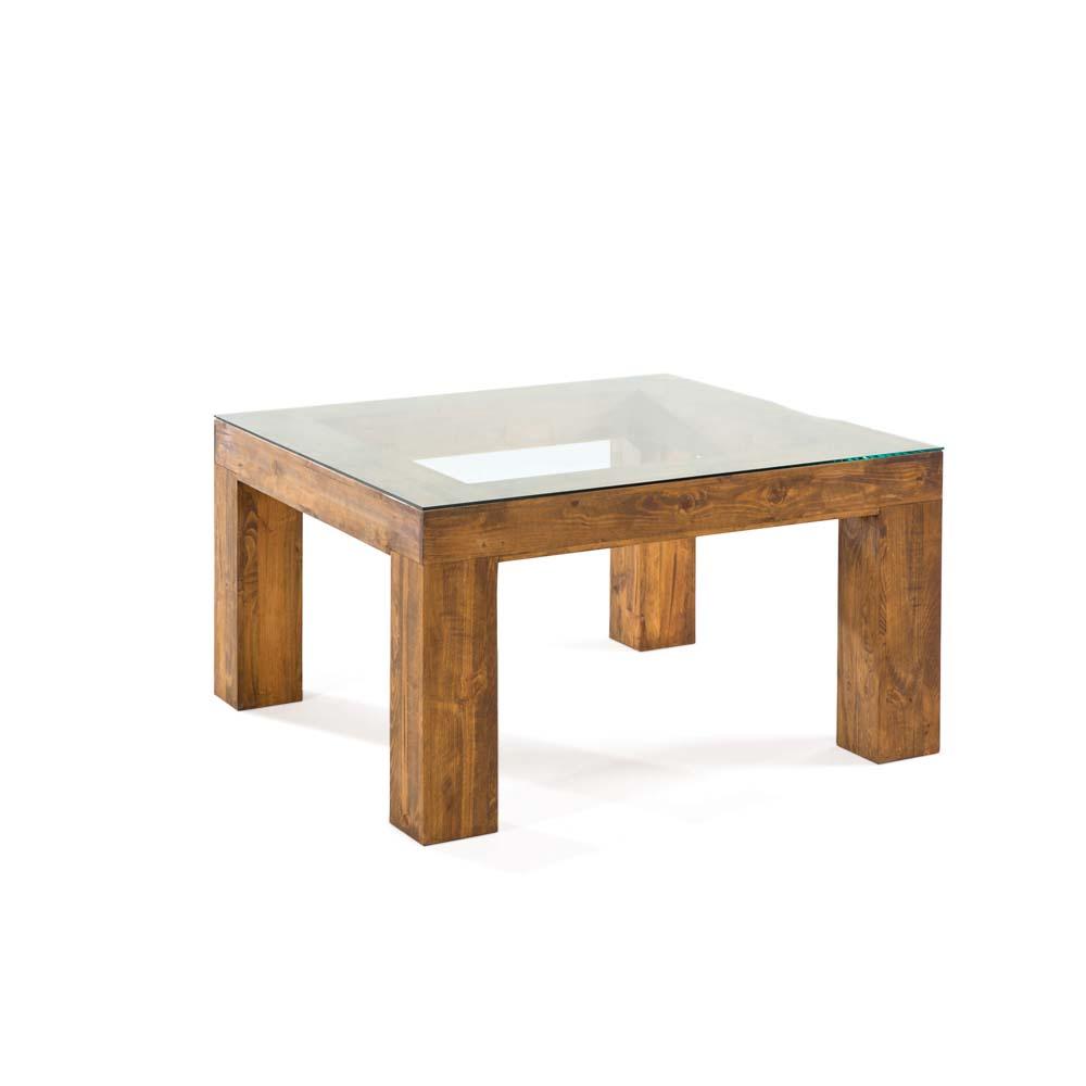 mesa de comedor de madera acristalada