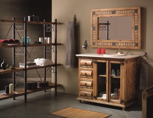 mueble baño madera rústica