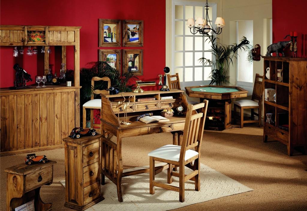 despacho de madera, escritorio, mueble bar