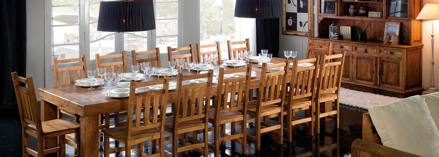 mesa comedor rústica grande, sillas rústicas