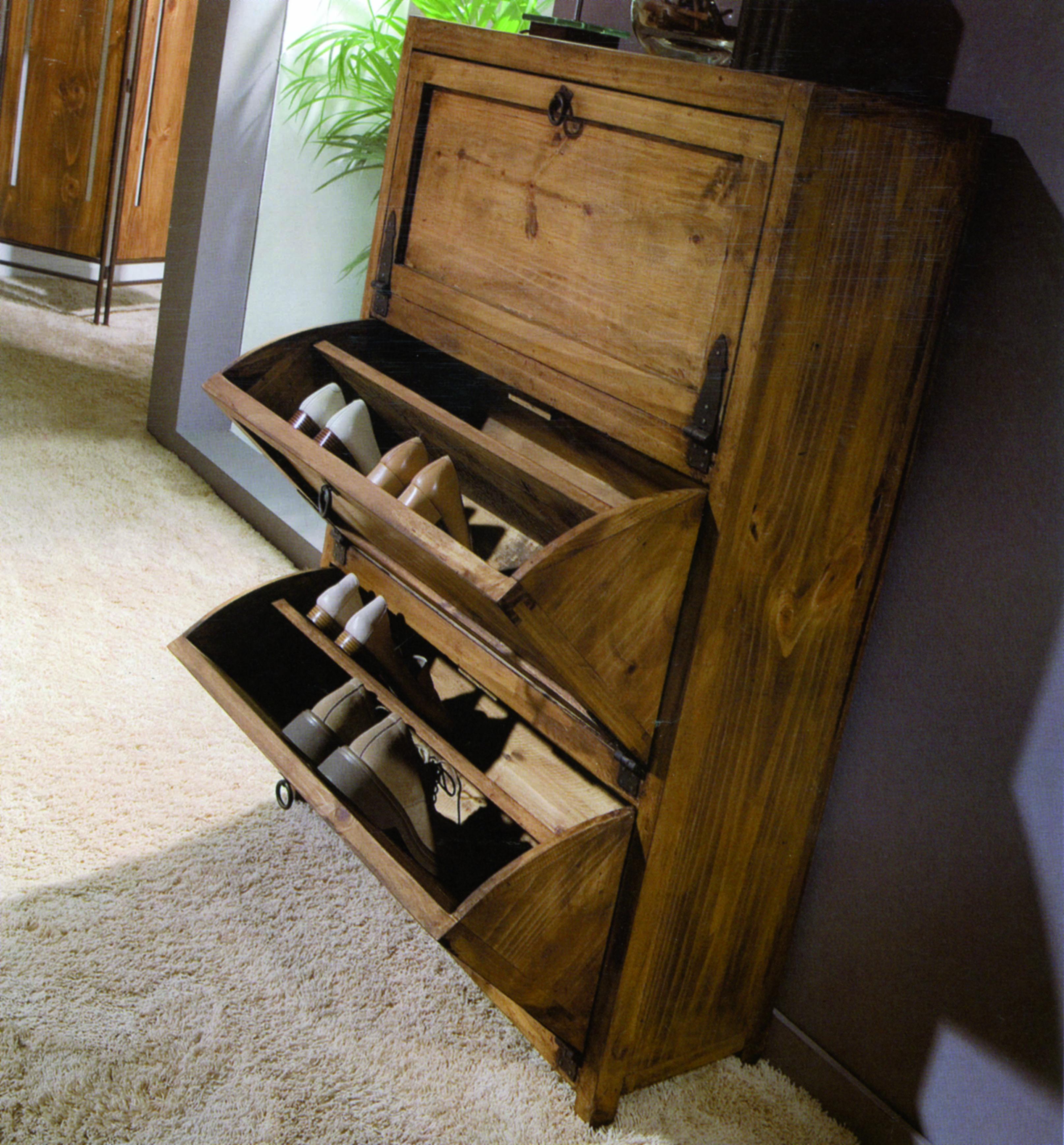 Zapatero rústico  MYOC Muebles rústicos 100% madera maciza en