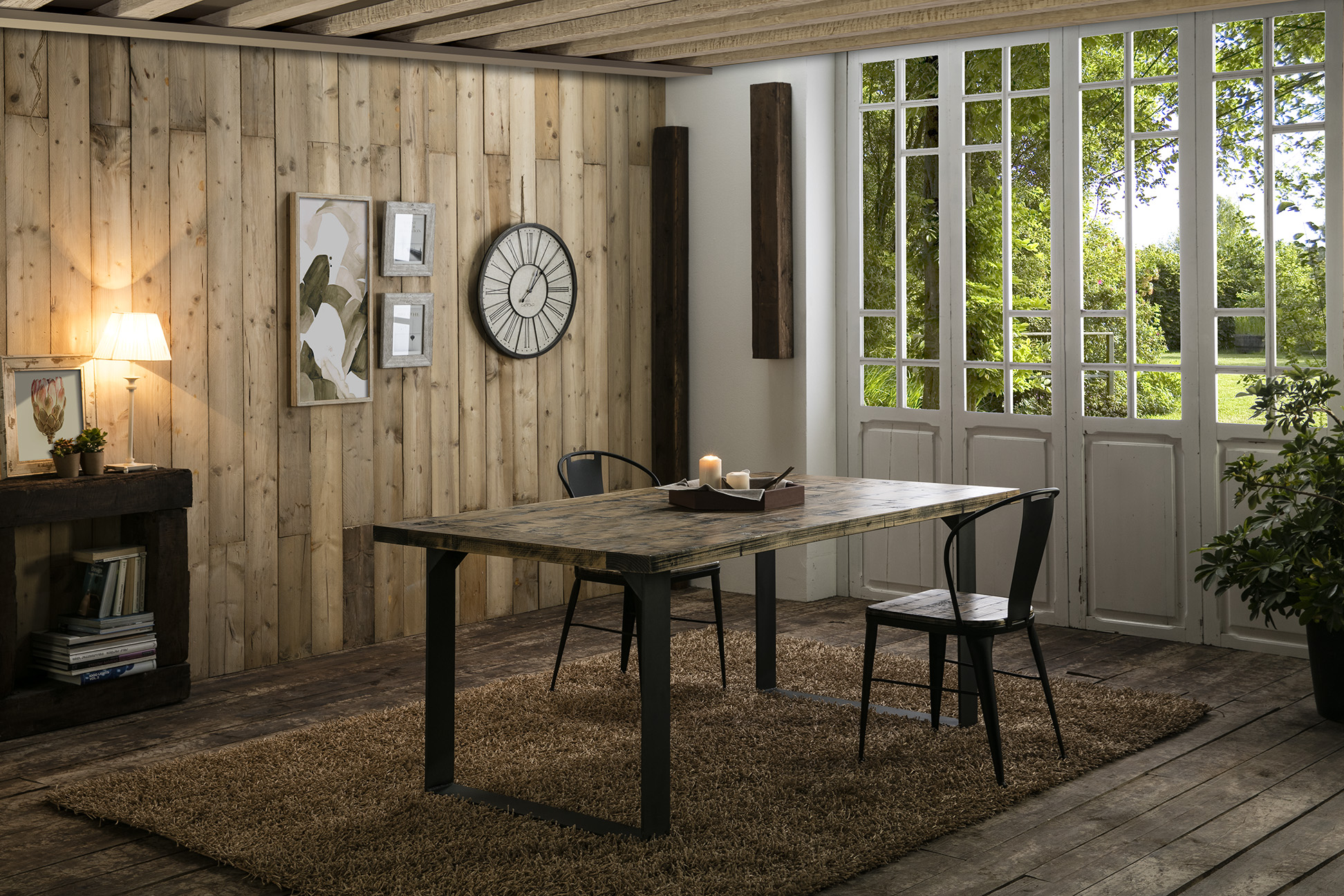 mesa y sillas de madera y hierro color café