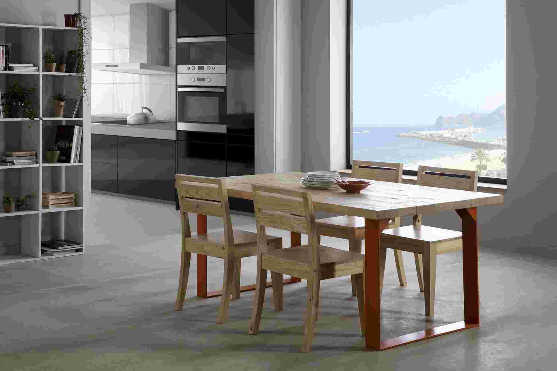 ambiente salon rústico mesa madera pata forja